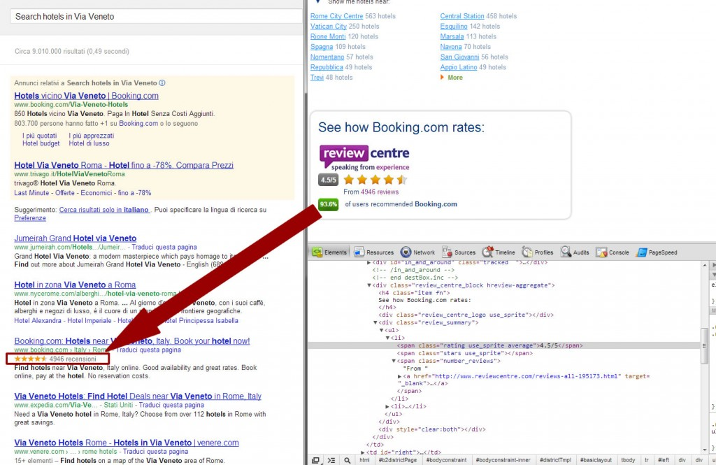 booking.com rich snippet spam