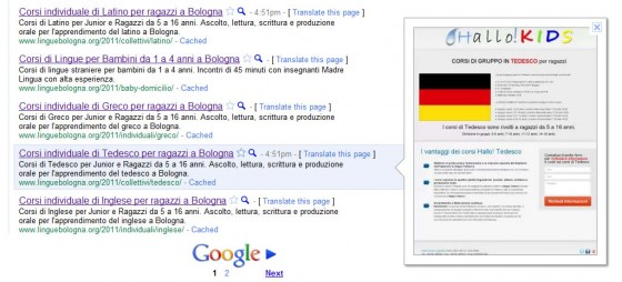 Comportamento corretto di Google instant preview